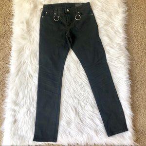 asos Black Moto Jeans with ring belt loop, size 28